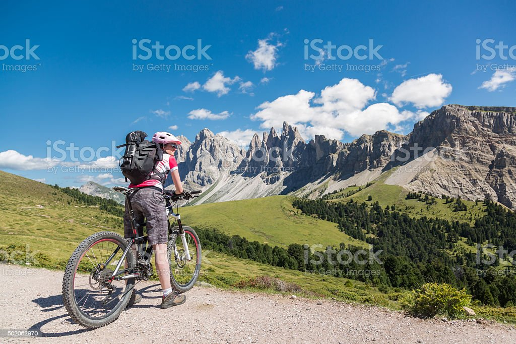 Watching Geisler Group in the Dolomites stock photo