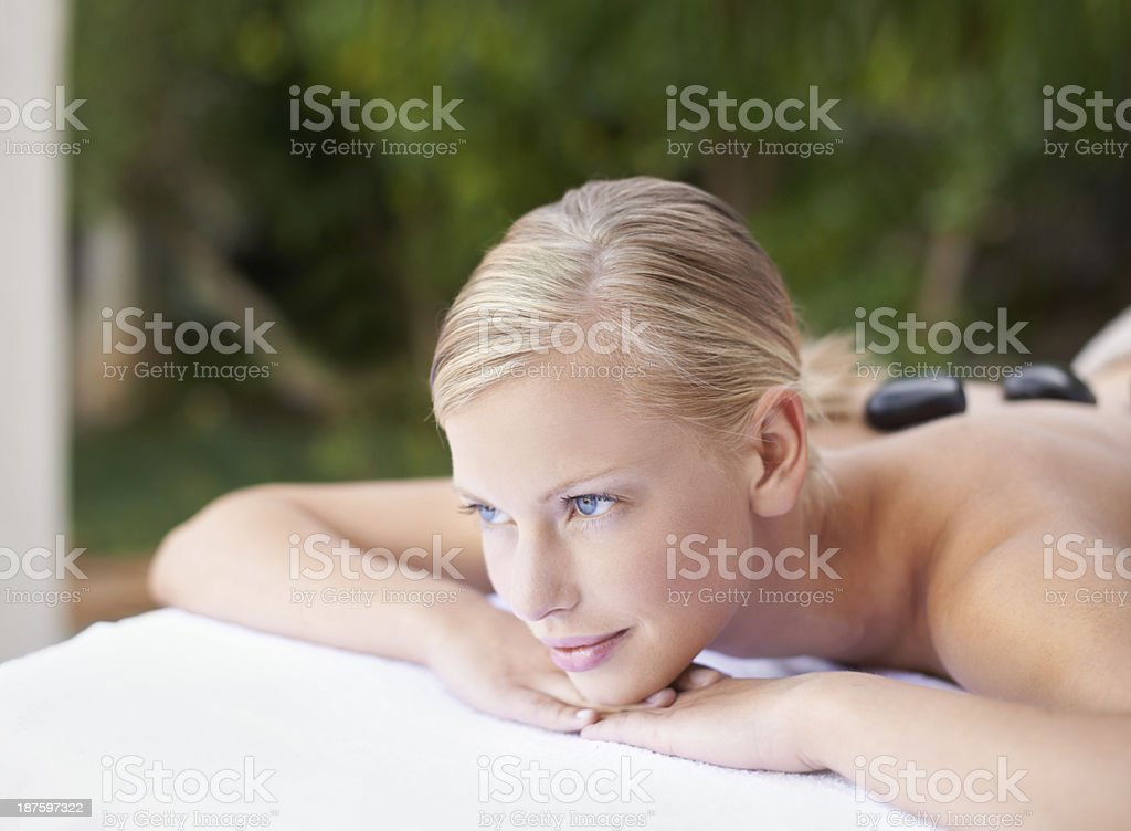 Watching her troubles melt away royalty-free stock photo