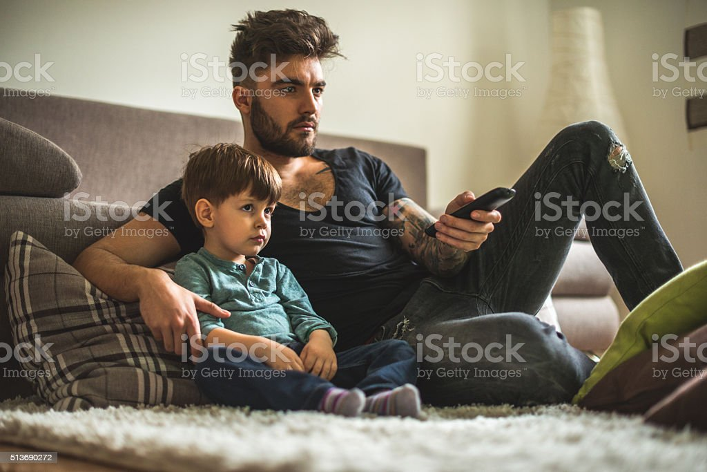 Watching movies together stock photo