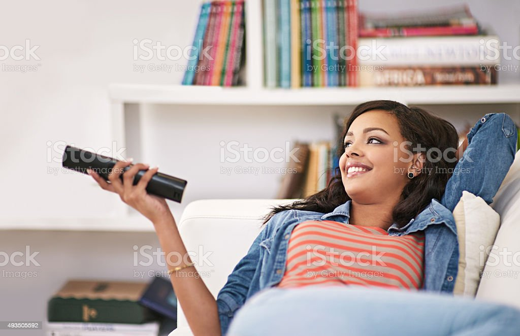 Watching one of those feel-good movies stock photo