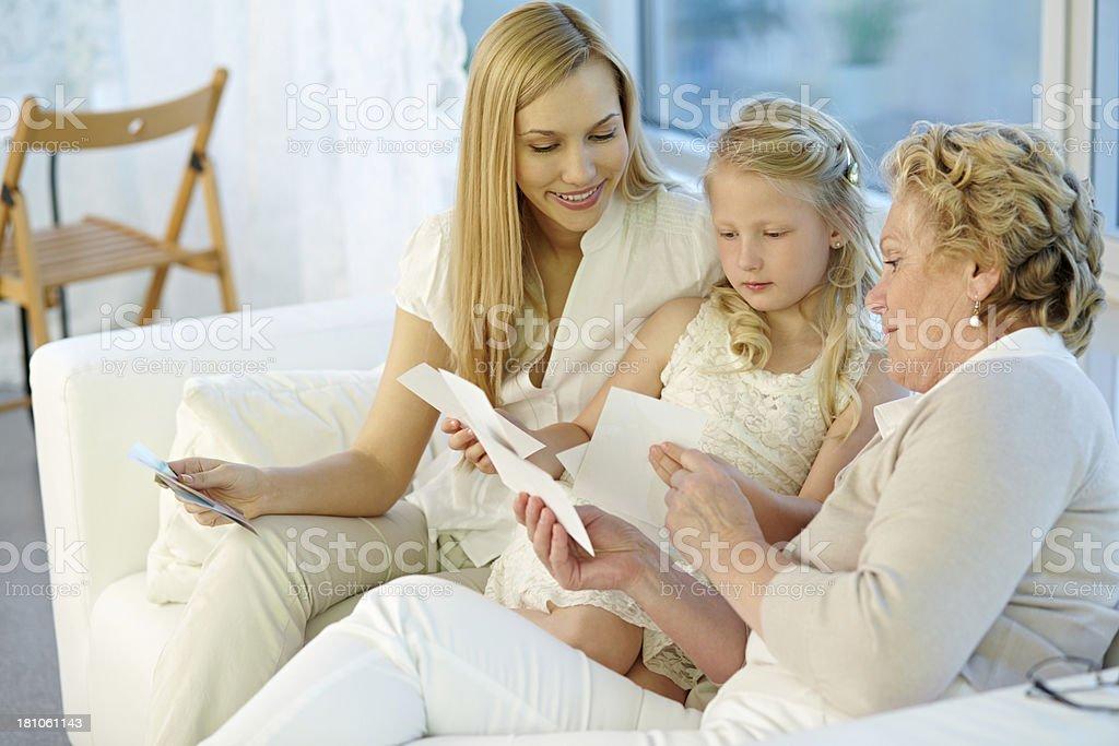 Watching photos royalty-free stock photo