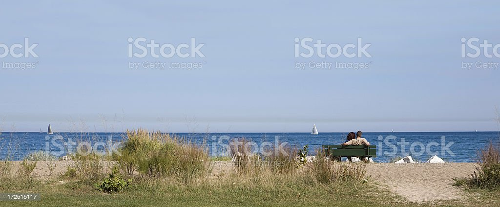 watching sailboats pano royalty-free stock photo