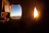Watching sky through the airplane window
