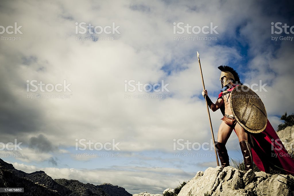 watching Spartan warrior stock photo