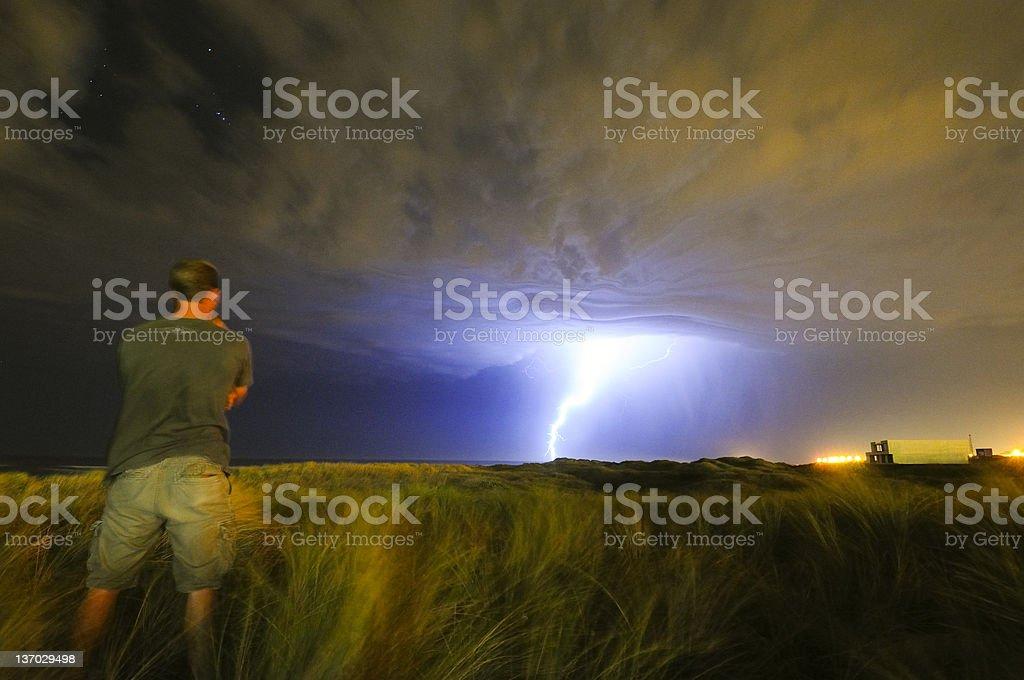 Watching storm approaching stock photo