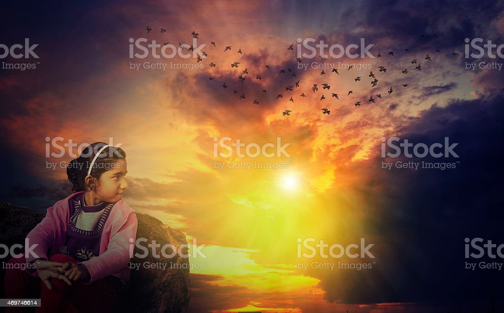 Watching sunset sunrise stock photo