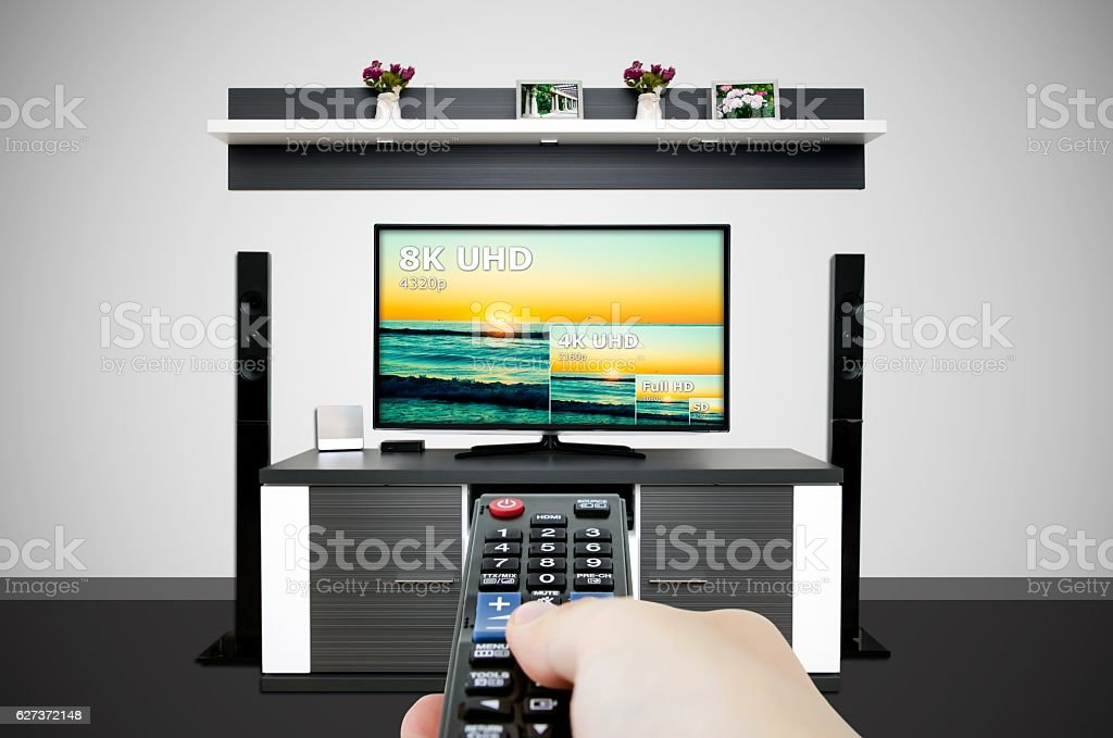 Watching television in modern TV room. Compare of television res stock photo