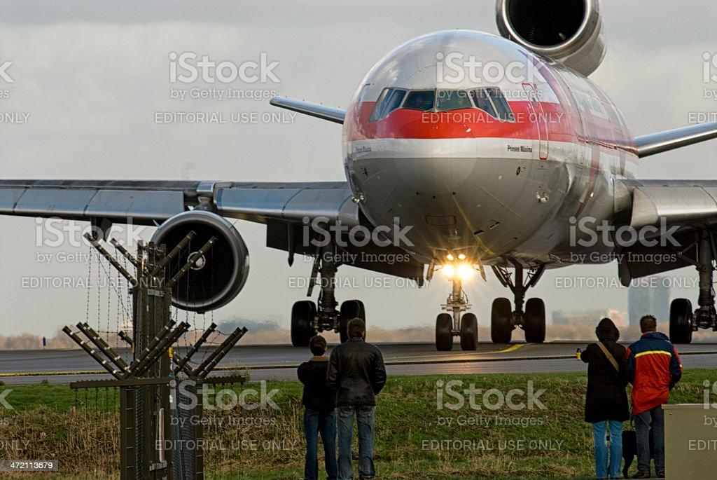 Watching the airlpane stock photo