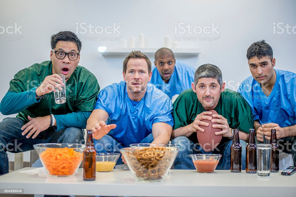 Watching the Super Bowl Together stock photo