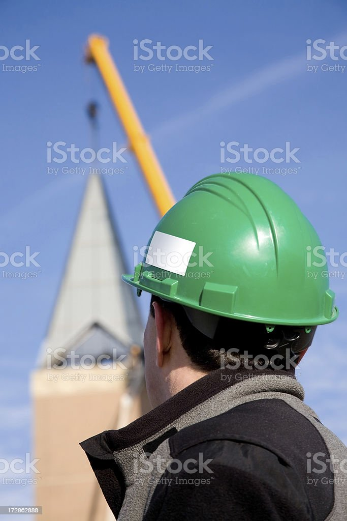 watching the crane royalty-free stock photo