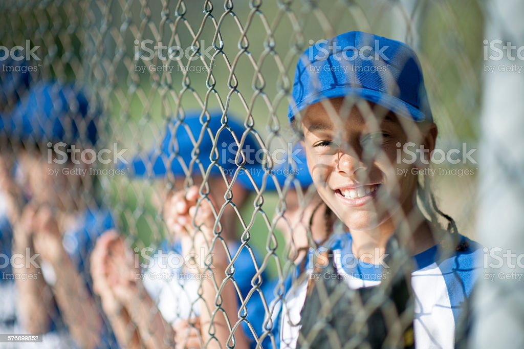 Watching the Game from the Dugout stock photo
