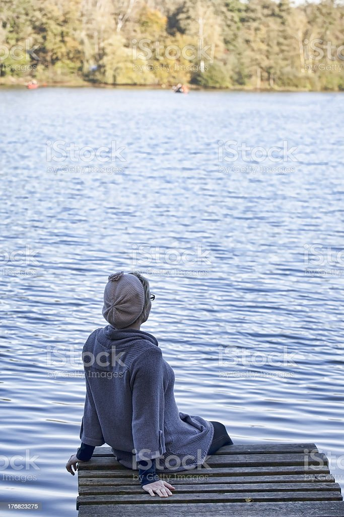 watching the lake in autumn royalty-free stock photo