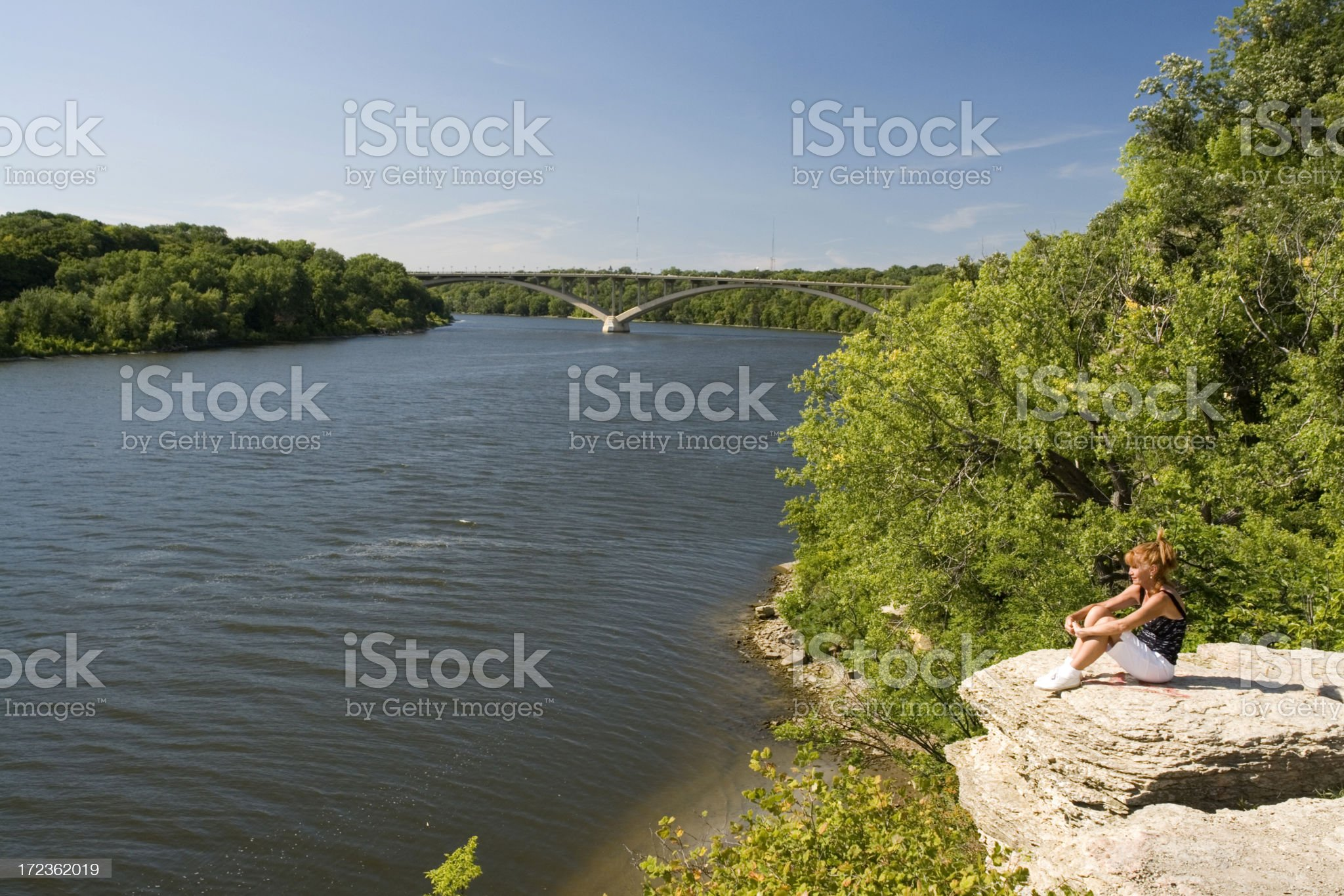 Watching the Mississippi river royalty-free stock photo