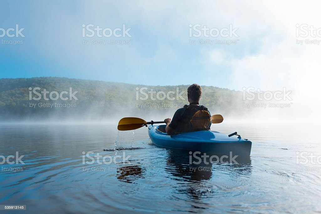 Watching the Mist Rise stock photo