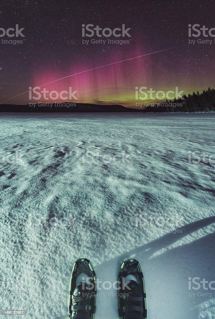 Watching the Northern Lights stock photo
