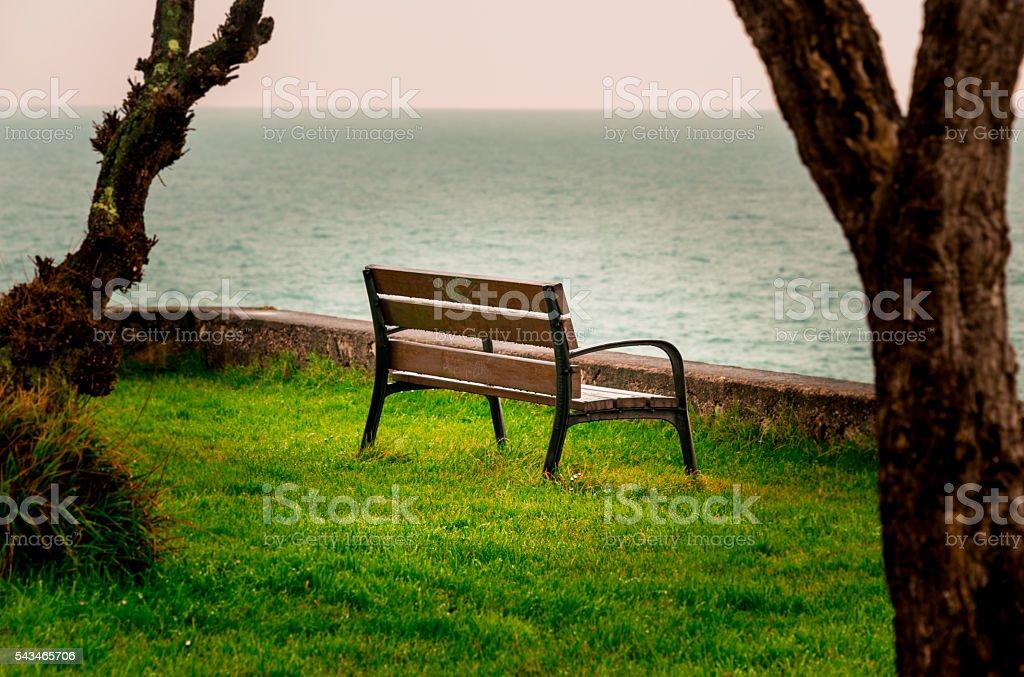 Watching the sea II stock photo