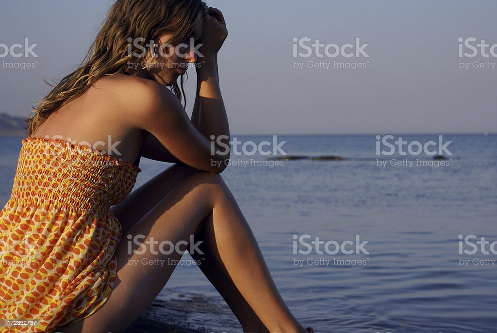 Watching the sea (close up) stock photo