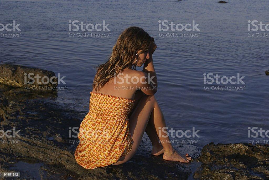 Watching the sea stock photo