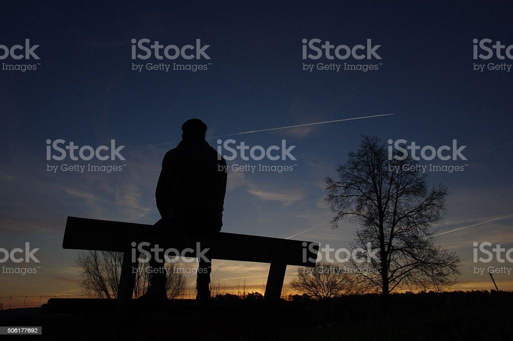 Watching the sunrise stock photo