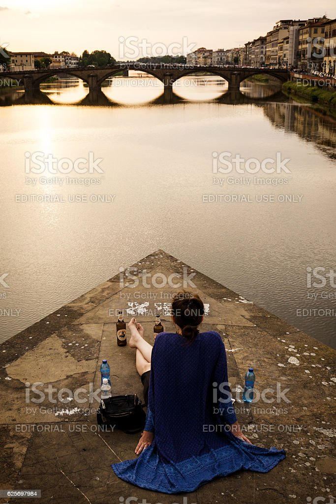 Watching the sunset in Florence stock photo