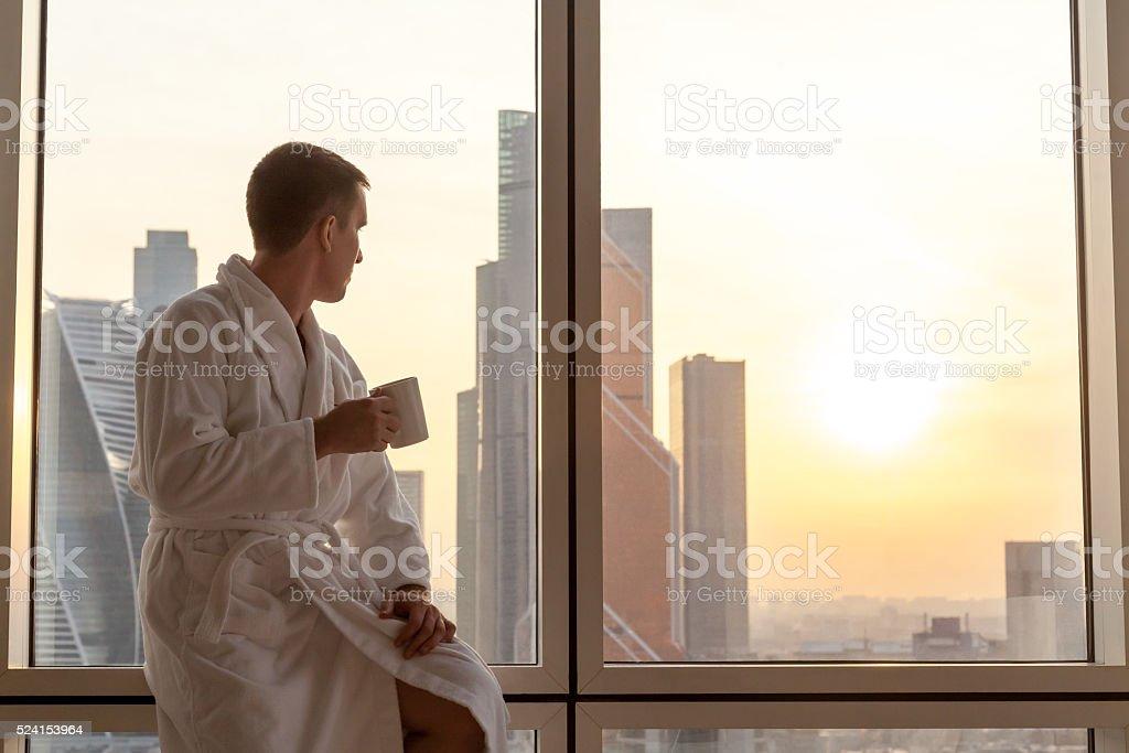 Watching the sunset stock photo