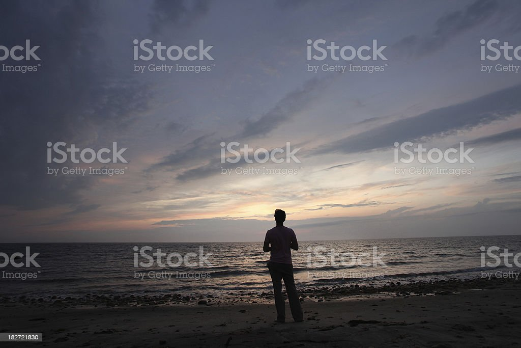 Watching the sunset wide angle royalty-free stock photo