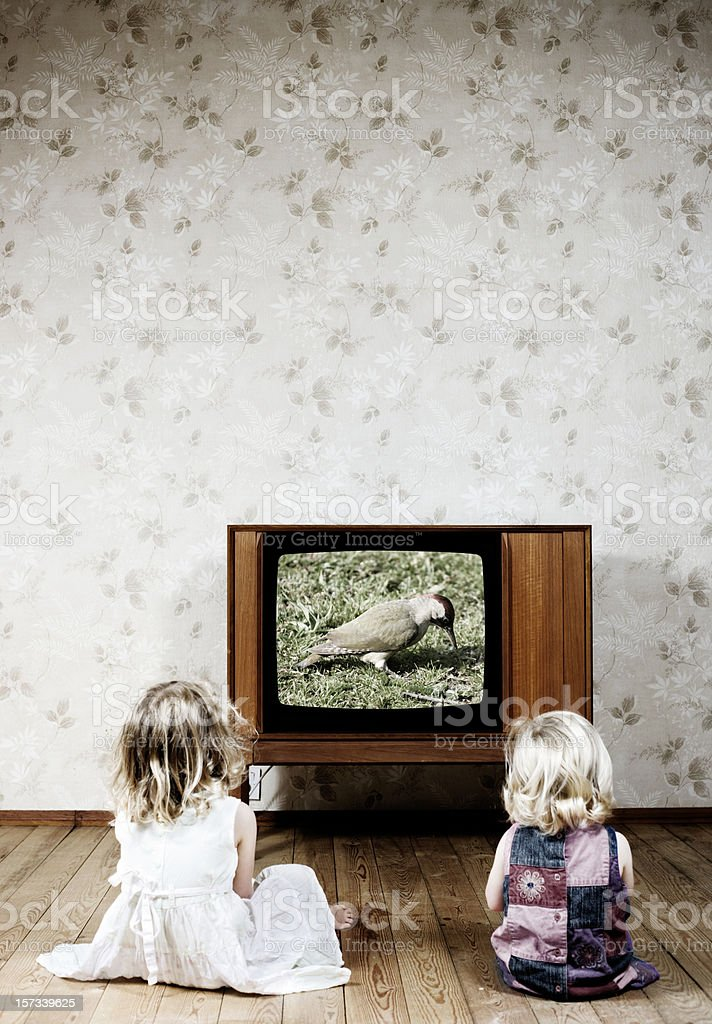 Watching the TV stock photo