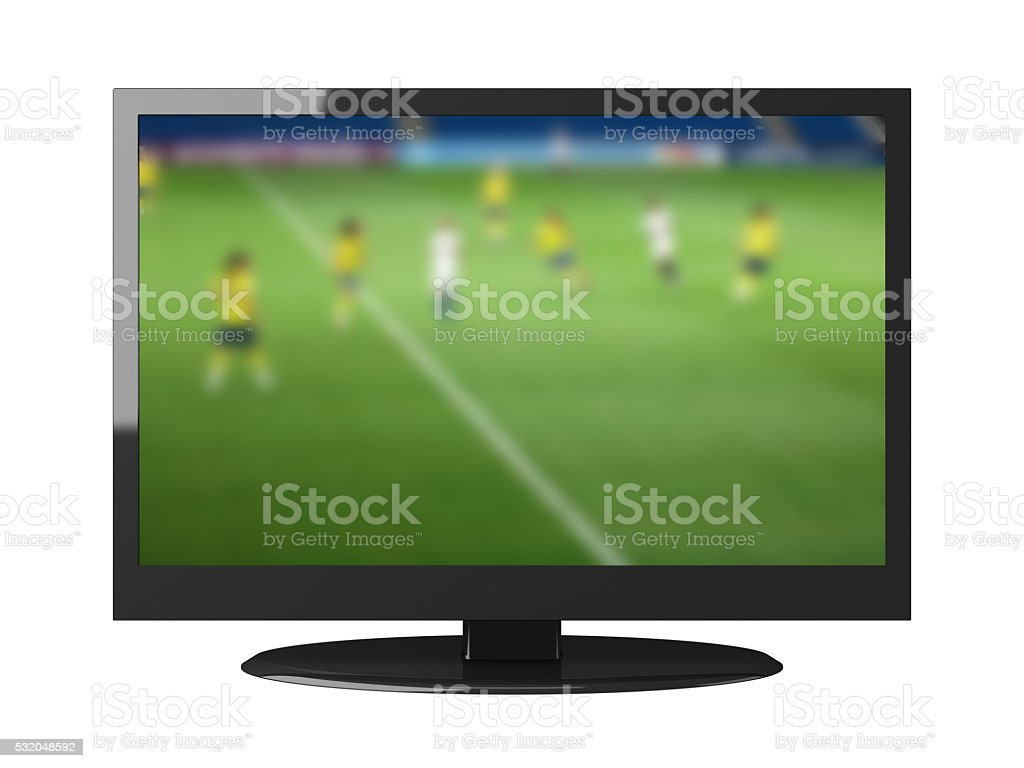 Watching tv football television isolated stock photo