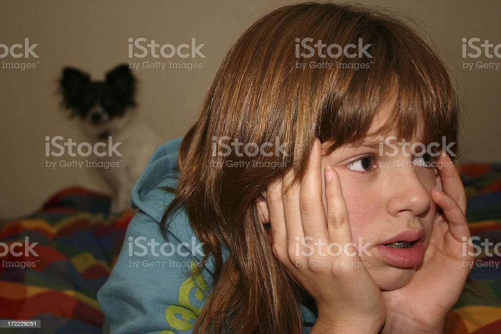 Watching T.V. royalty-free stock photo