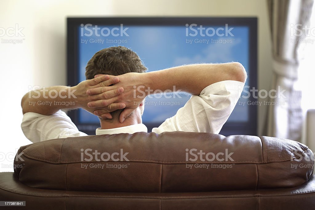 Watching tv stock photo