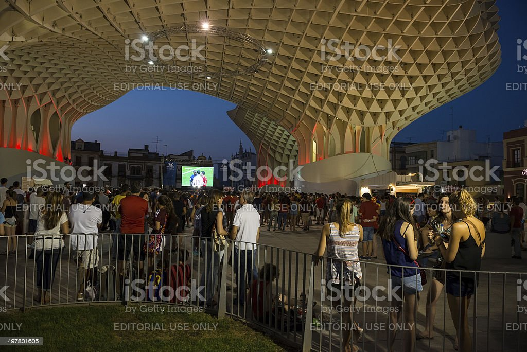 Watching World Cup 2014 in Spain stock photo