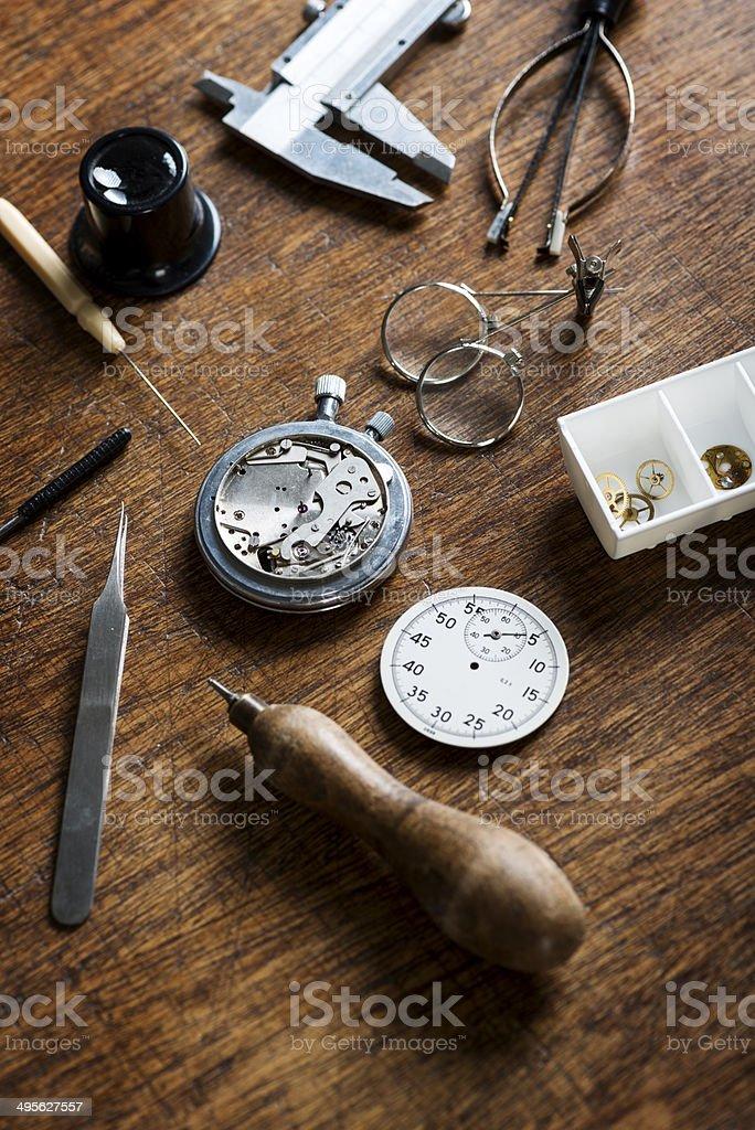 Watchmaker Tools stock photo