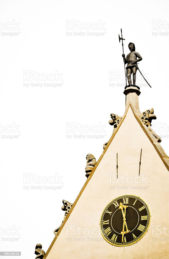 Watchman Figur und historische Uhr-isoliert Lizenzfreies stock-foto