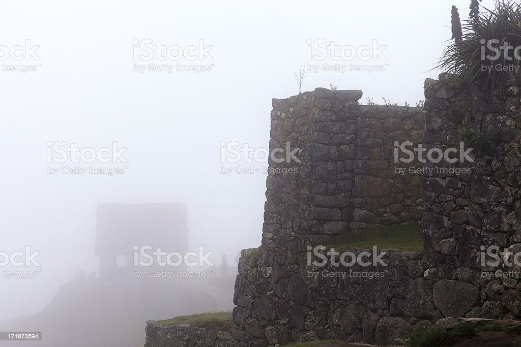 Watchman's Hut in the Fog stock photo