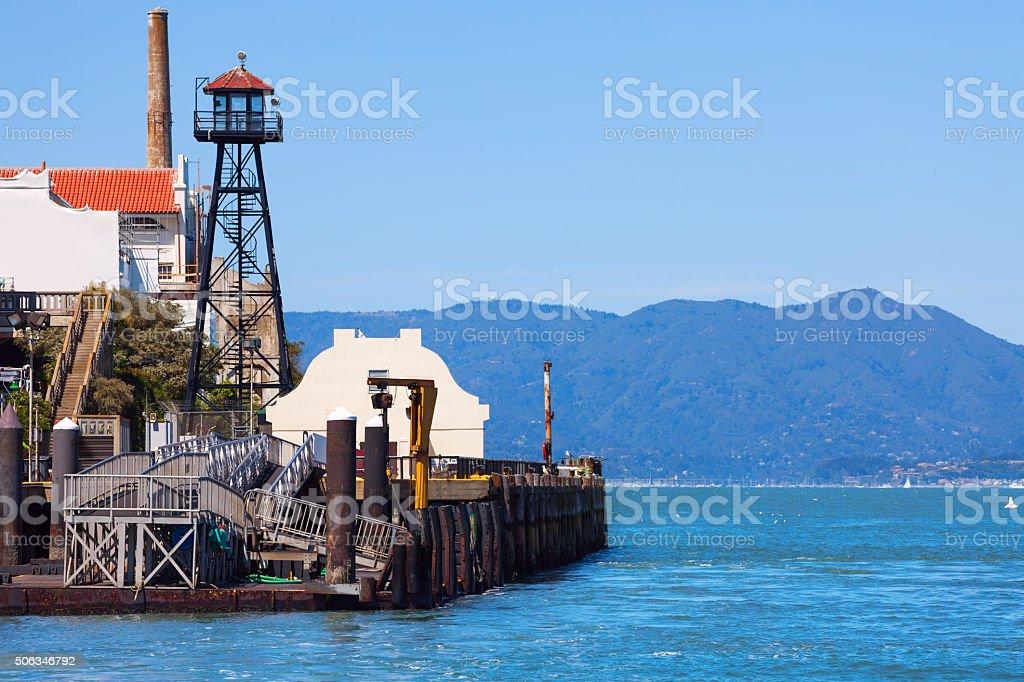 Watchtower and embankment of Alcatraz prison stock photo