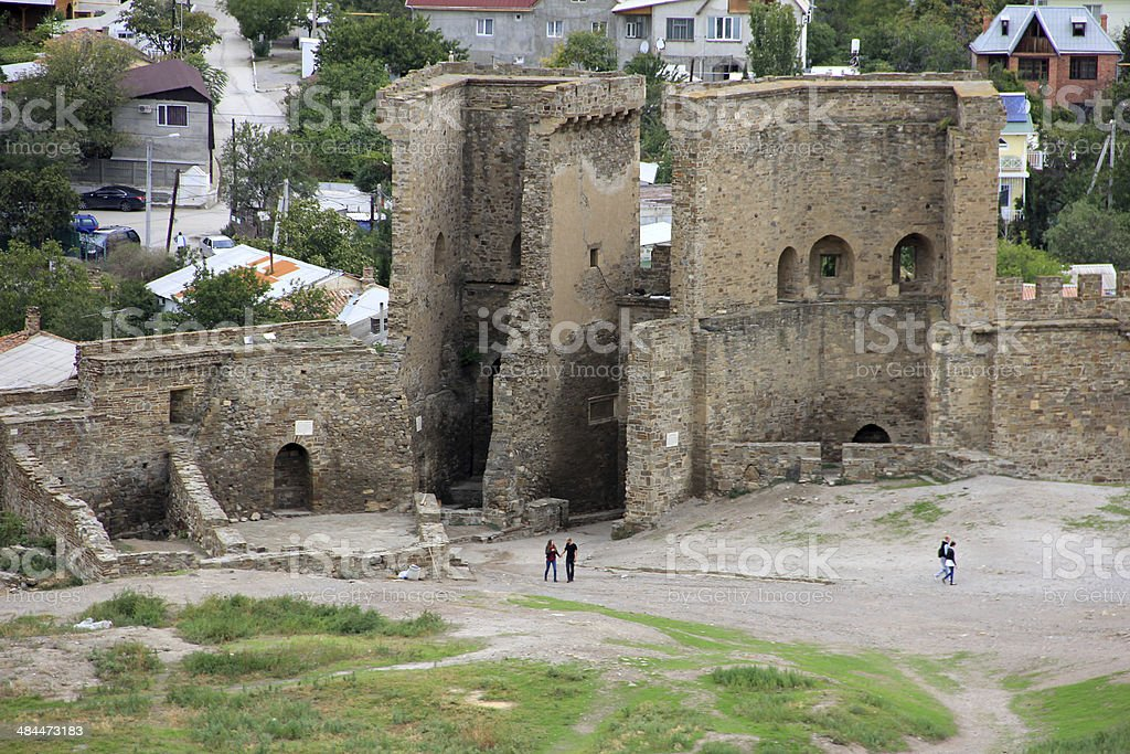 Watchtower and the walls of the Genoese fortress stock photo