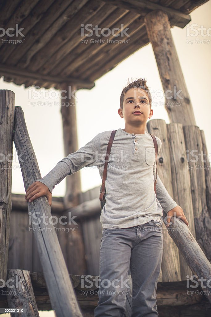 Watchtower ant the boy stock photo