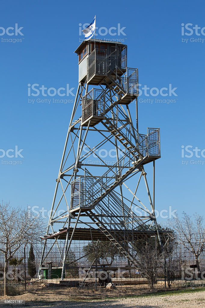 Watchtower in the fields, near Mitar Israel-2-Edit.psd stock photo