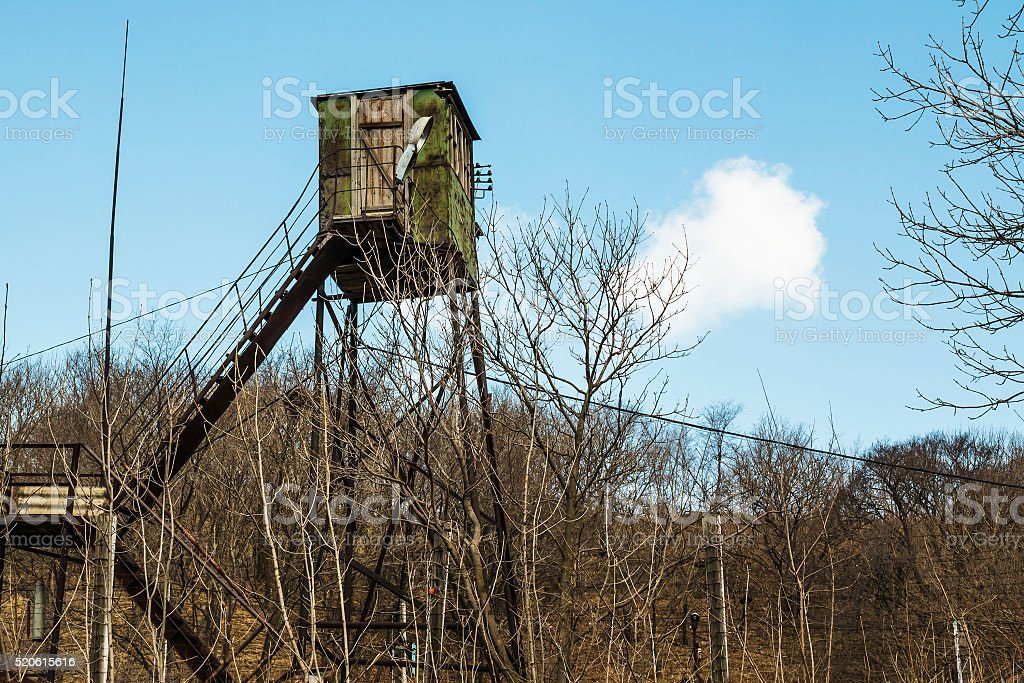 watchtower on blue sky background stock photo