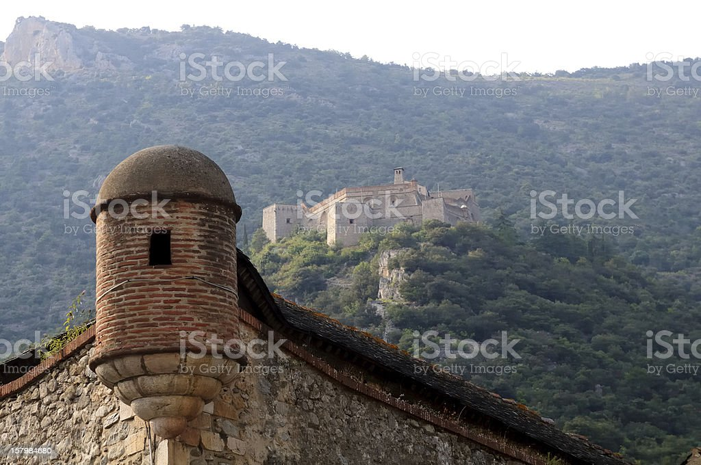 Watch-turret and Fort Lib?ria, at Villefranche de Conflent, France, royalty-free stock photo