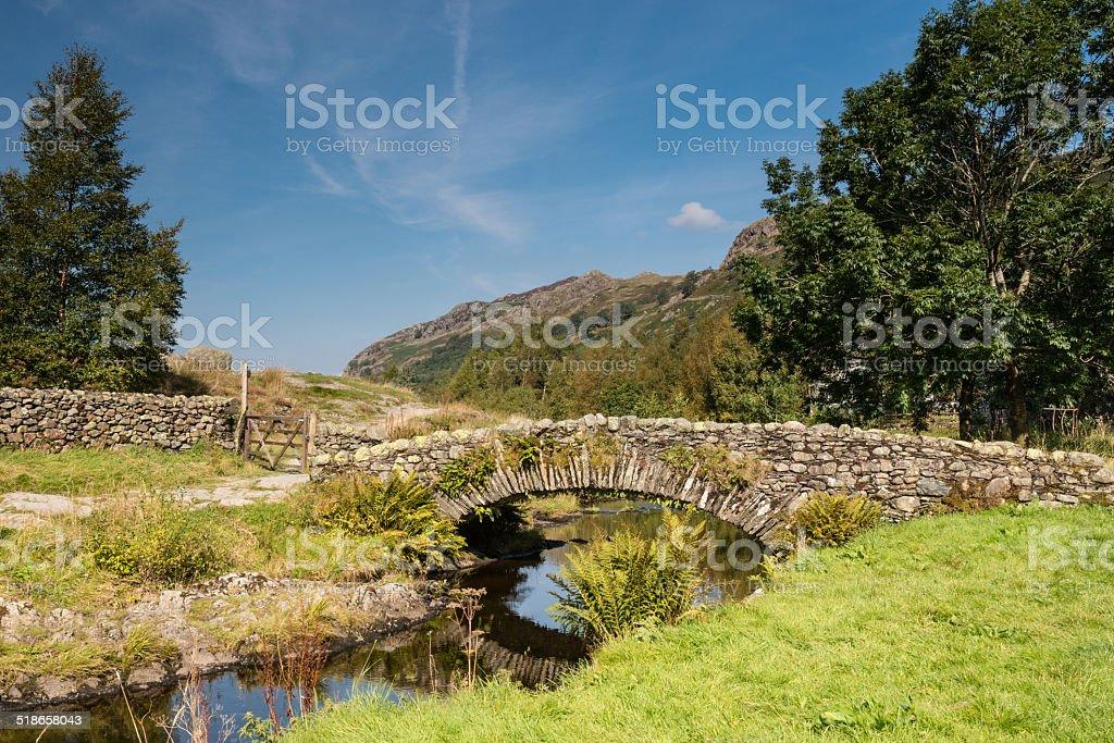 Watendlath Stone Footbridge stock photo
