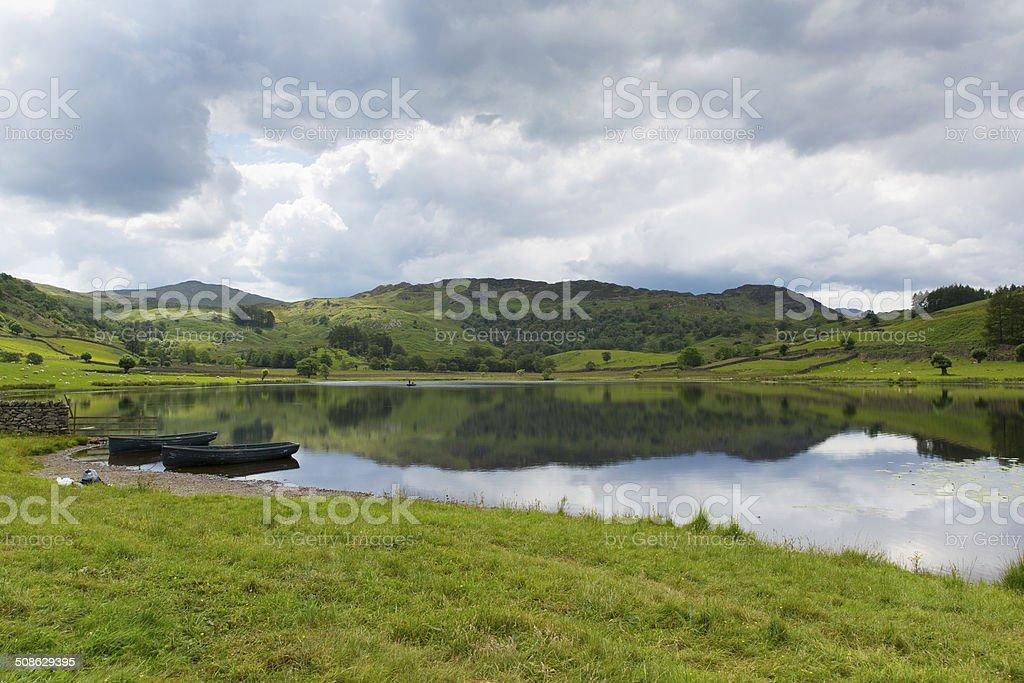 Watendlath Tarn Lake District Cumbria England calm still summer day stock photo