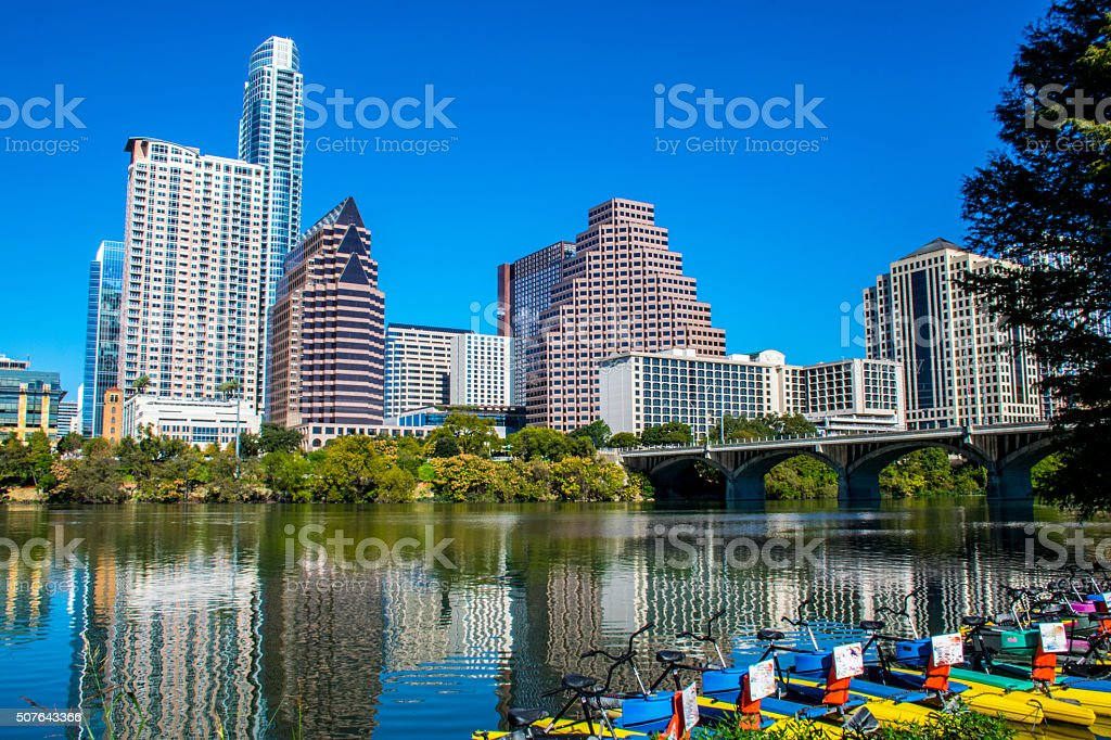 Water Activities Lady Bird Lake Austin Texas Downtown stock photo