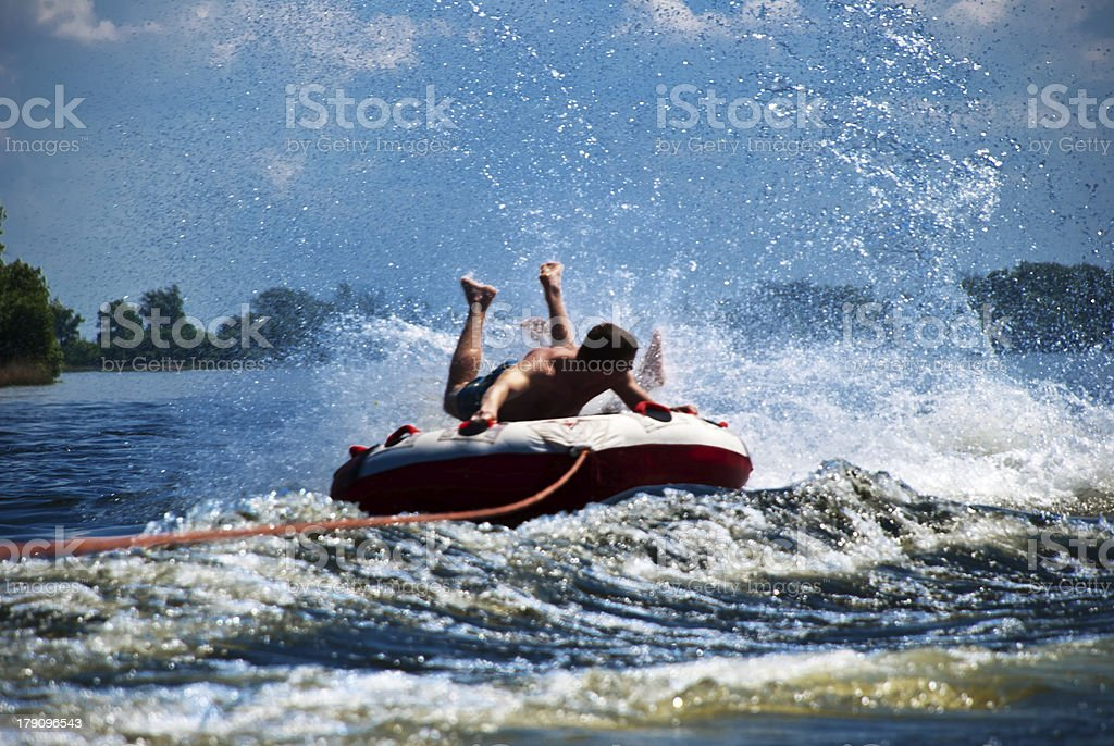 Water adventures of two friends royalty-free stock photo