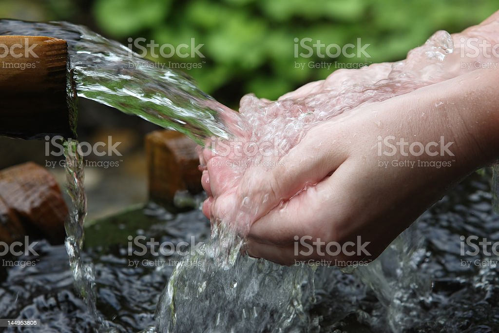 water and hands stock photo