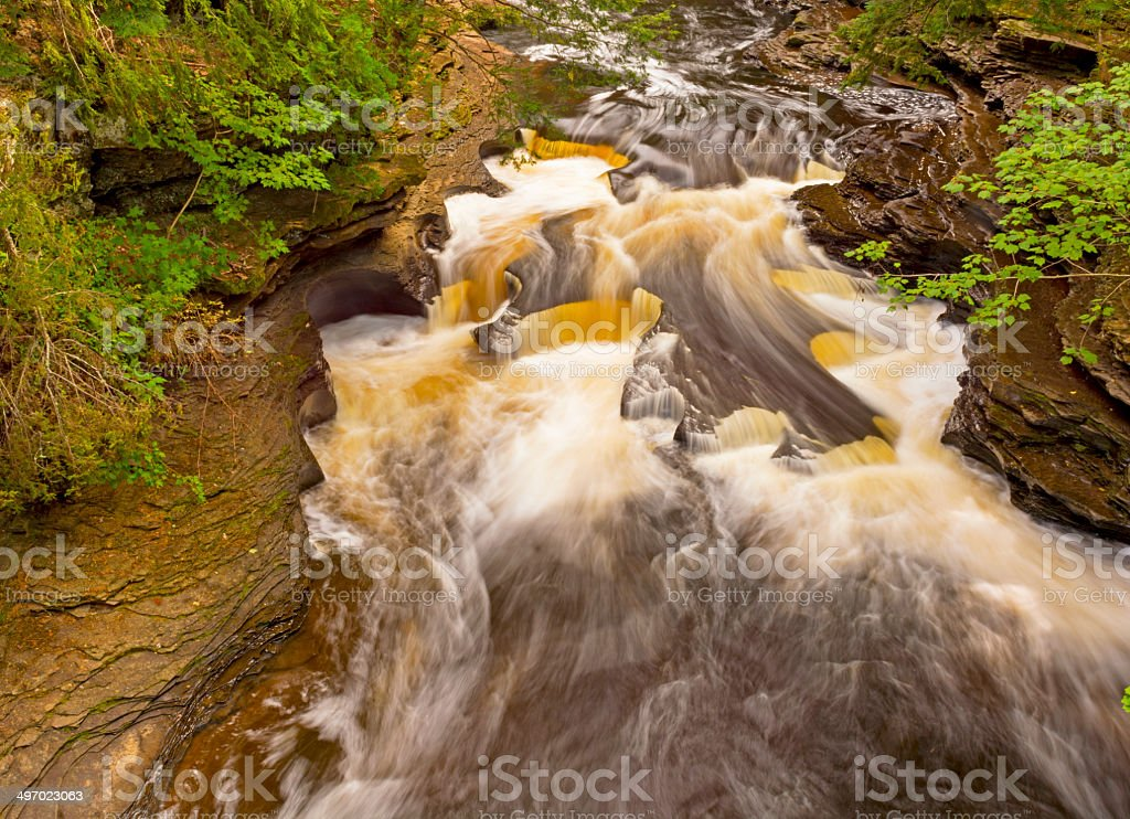 Water and Rocks in a Forest Stream stock photo