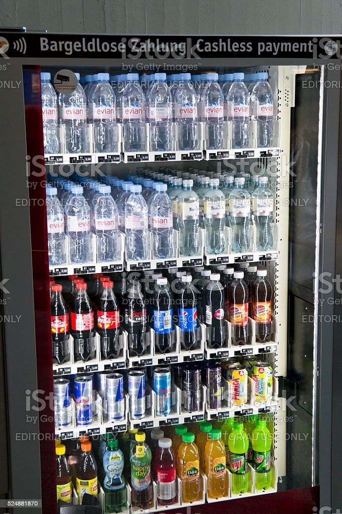 Water and Soft Drinks in a Vending Machine stock photo