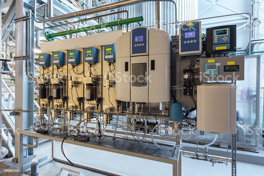 water and steam quality control unit stock photo
