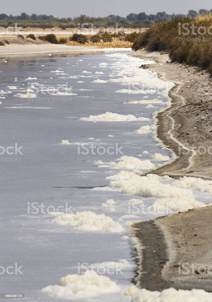 Water and white foam in the salt basin of Aigues-mortes royalty-free stock photo