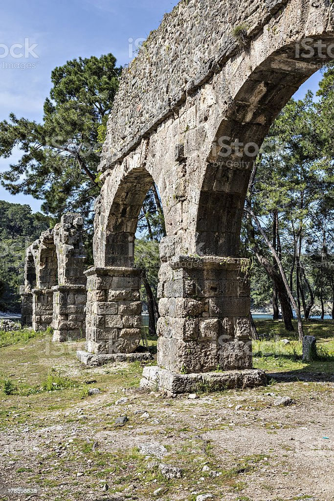 Water arches of Phaselis in Antalya, Turkey stock photo
